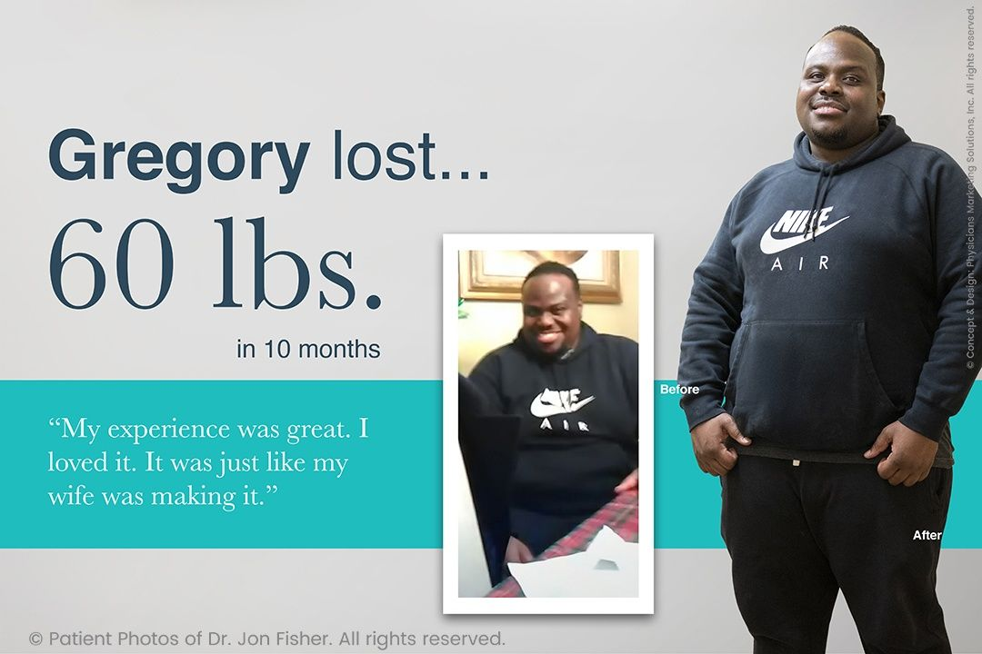 Gregory lost 60 lbs. in 10 months